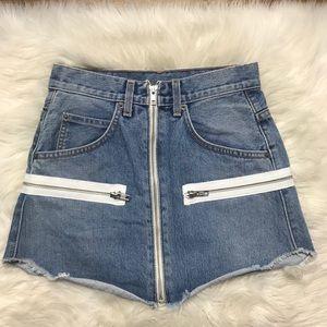 Carmar Zipper Denim Mini Skirt